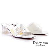 Keeley Ann我的日常生活 炫彩光澤透明粗跟拖鞋(白色) -Ann系列