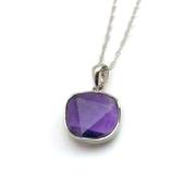 紫晶六角星吊墜純銀項鍊
