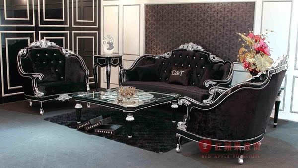 [紅蘋果傢俱] XGL-040 新古典沙發 歐式奢華風沙發 冰絲絨布藝沙發