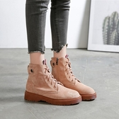 女短靴 韓版女鞋子 女秋冬新款復古靴子學生百搭短靴大碼加絨女靴馬丁靴《小師妹》sm3562