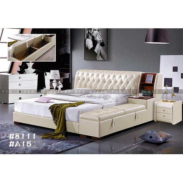 [紅蘋果傢俱] LW 8111 6尺真皮軟床 頭層皮床 皮藝床 皮床 雙人床 歐式床台 實木床