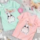立體亮片蝶結可愛兔兔棉質短袖上衣-2色(310083)【水娃娃時尚童裝】