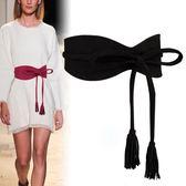 黑色腰封綁帶系帶裝飾配洋裝時尚百搭簡約寬腰帶女士束腰顯瘦 DN16999【大尺碼女王】