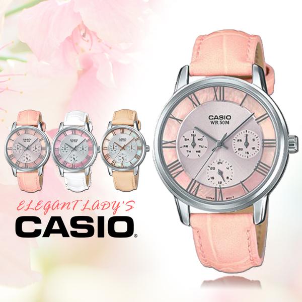 CASIO手錶專賣店 CASIO_LTP-E315L-4A 真皮錶帶 礦物玻璃 50米防水