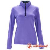 【wildland 荒野】女 彈性針織輕薄拉鍊領長袖上衣『紫羅藍』0A71619 T恤 上衣 女版 長袖 排汗 休閒