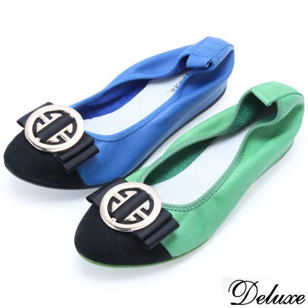 Deluxe-金屬飾扣蝴蝶結娃娃鞋-藍-綠