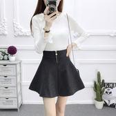 新款韓版高腰冬季百搭毛呢半身裙女學院風A字短裙蓬蓬顯瘦打底裙