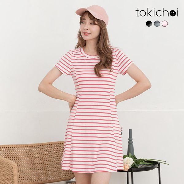 東京著衣-tokichoi-清新韓妞橫條紋多色修身彈力洋裝-S.M.L(190824)