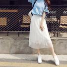 【1663-0430】中長款蕾絲半身裙 蓬蓬裙 仙女裙 (黑/白/灰)