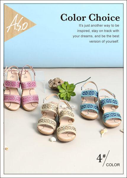A.S.O 挺麗氣墊 全真皮寬楦鏤空氣墊楔型涼鞋  綠