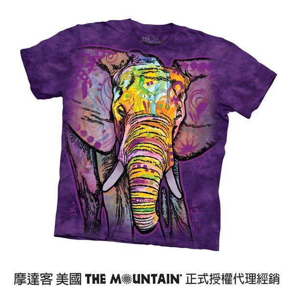 【摩達客】(預購)(大尺碼3XL)美國進口The Mountain 彩繪大象 純棉環保短袖T恤(10416045129a)