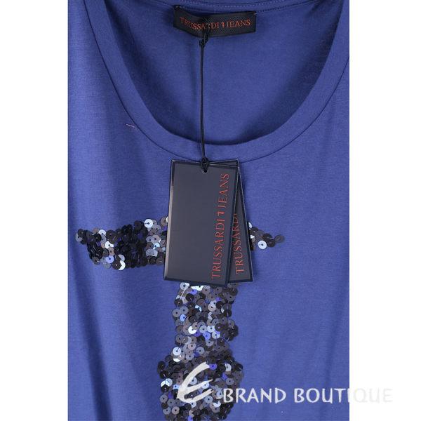 TRUSSARDI 藍色亮片LOGO棉質短袖T恤 1620448-23
