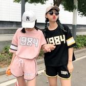 運動套裝女正韓原宿寬鬆休閒短袖短褲兩件套