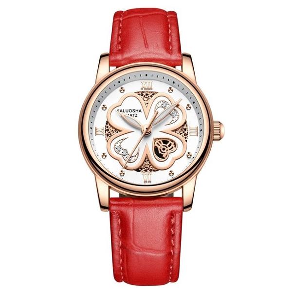 手錶 四葉草皮帶女士手錶學生夜光防水時尚潮流石英女腕錶