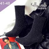 大尺碼女鞋-凱莉密碼-時尚尖頭超閃星空布料高跟中筒踝靴7cm(41-48)【MJ618-3】銀色