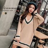 針織毛衣--保暖氣質典雅線條V領優雅連袖羅紋針織上衣(綠.杏XL-3L)-X275眼圈熊中大尺碼◎