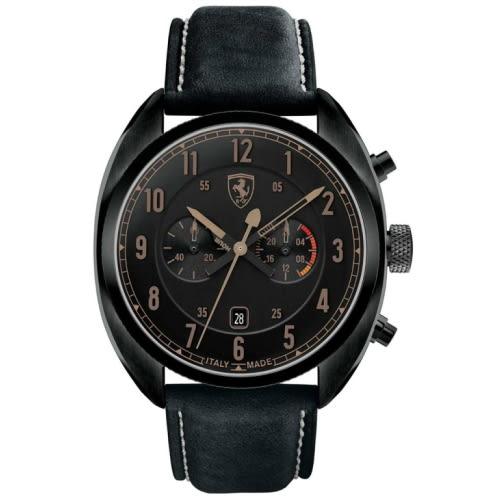 FERRARI Formula Italia 紳士質感黑框計時皮帶腕錶/全黑/0830146