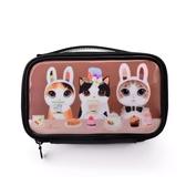 化妝包 簡約小號大容量箱韓國ins可愛貓圖案防水亮面便攜 - 雙十二交換禮物