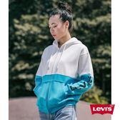 [第2件1折]Levis 女款 連帽外套 / Oversize 寬鬆版型 / 字母Logo / 水藍