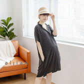 愛戀小媽咪 孕婦裝 V領排釦直條紋雪紡洋裝