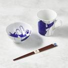 日本美濃燒-日常杯碗禮盒組-附筷(3件式)-黑貓君