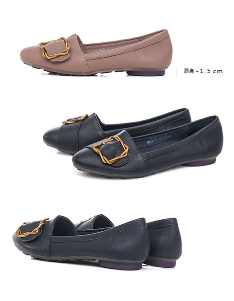 TAS金屬皮扣帶拼接柔軟羊皮平底鞋-深海藍