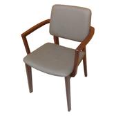 【YFS】Donna胡桃色扶手灰皮面實木餐椅-48x54x80cm