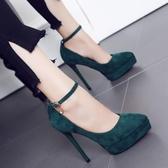 伊人閣 細跟絨面一字扣帶女鞋單鞋女12cm超高跟鞋