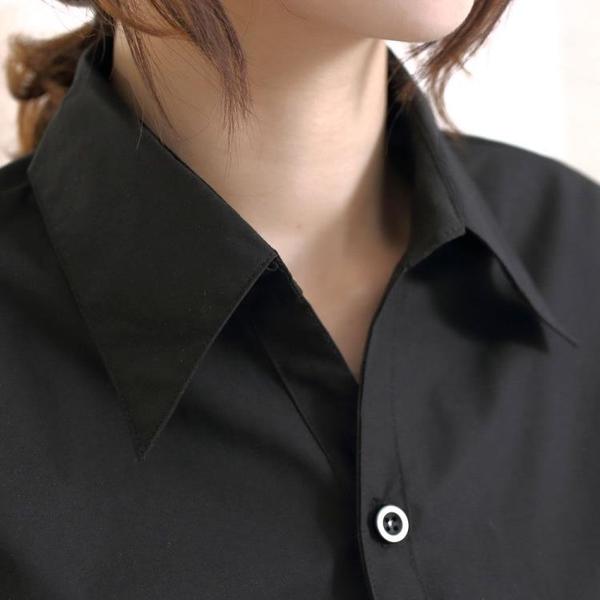 襯衫 職業短袖襯衣工作服棉免燙女士襯衫長袖商務修身黑襯衫特大 芊惠衣屋