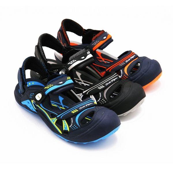 【G.P】男款時尚休閒護趾涼鞋 男鞋-黑(另有橘、藍)