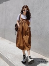 背帶裙女夏連身裙設計感韓版寬松洋氣中長款燈籠裙吊帶裙洋裝【時尚大衣櫥】