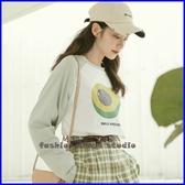 依多多 秋裝新款 水果系列印花插肩長袖T恤