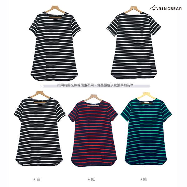連身裙--清新活力寬條紋下擺開衩A字版型圓領短袖長上衣(黑.紅.綠XL-5L)-U554眼圈熊中大尺碼◎