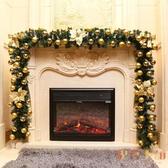 聖誕節聖誕樹藤條2.7米掛飾帶燈擺件裝飾品花環【倪醬小鋪】