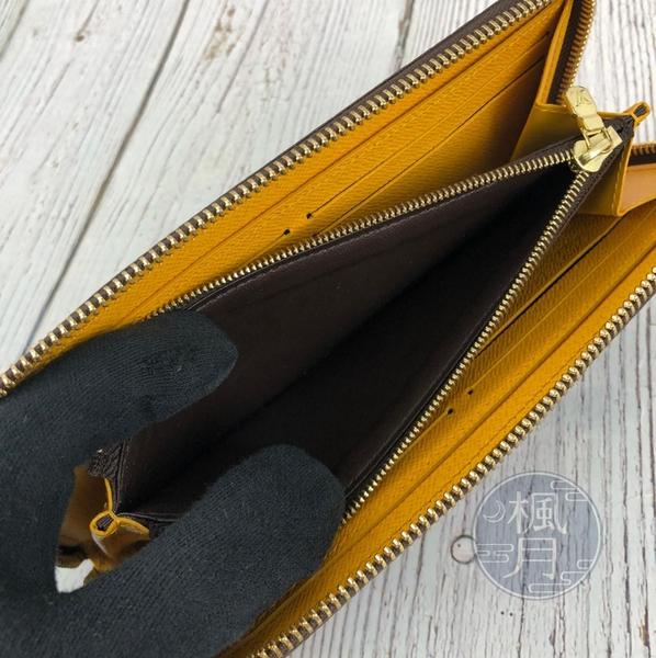 BRAND楓月 LOUIS VUITTON LV M60744 棕色 黃色 原花 LV紋 拉鍊 錢夾 錢包 發財夾