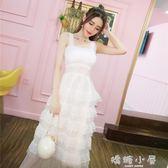 洋装裙子女夏2018韓版氣質甜美吊帶蕾絲拼接層層亮片五角星蛋糕洋裝  嬌糖小屋