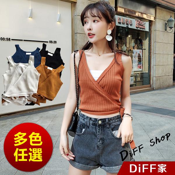 【DIFF】網紅同款韓版側邊綁帶針織背心 小可愛 素T 素色 T恤 寬鬆上衣 短袖上衣 女裝【V75】