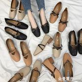 豆豆鞋女鞋新款春季奶奶鞋粗跟單鞋韓版春秋百搭中跟豆豆鞋子女 金曼麗莎