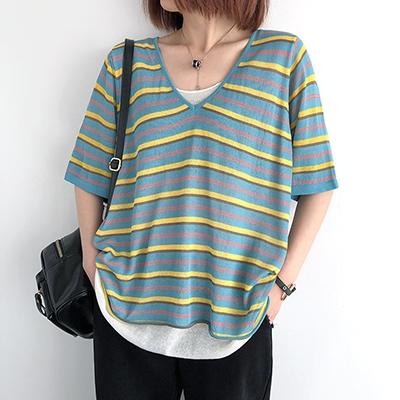 亞麻短袖上衣 V領短袖針織衫 條紋半袖打底衫/7色-夢想家-0330