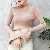 針織衫女秋冬新品半高領拼接網紗喇叭袖坑條紋修身亮絲打底衫上衣