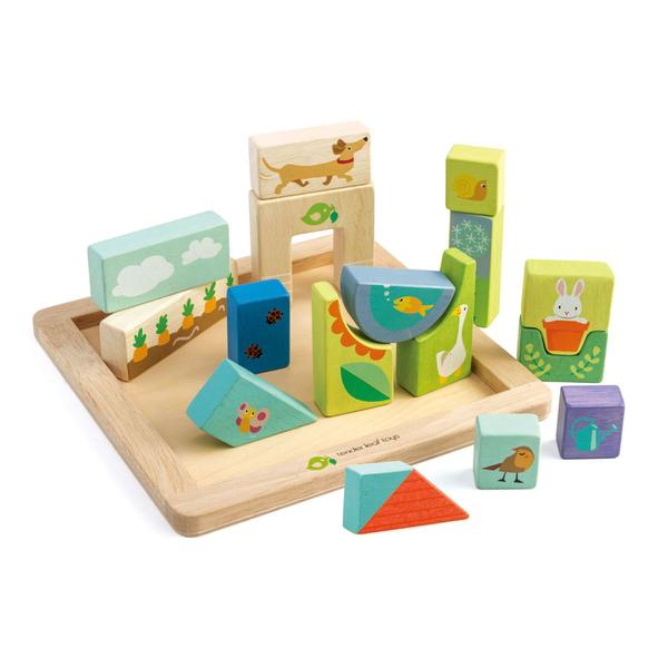 【美國Tender Leaf Toys】開心農場立體拼圖(植物性水染漆積木)