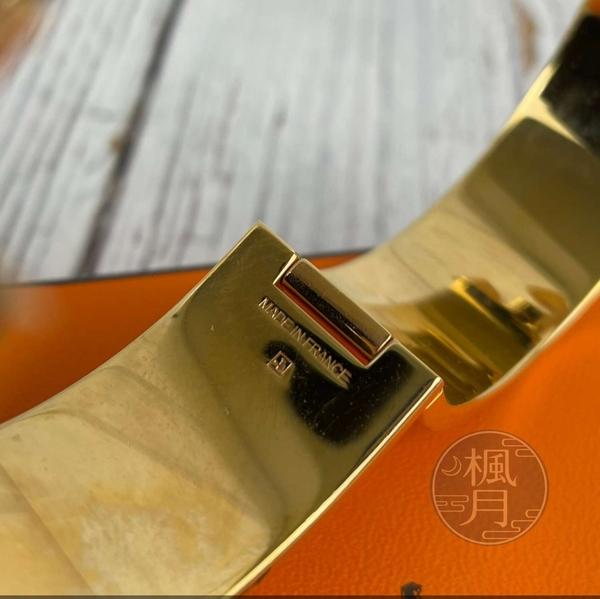 BRAND楓月 HERMES 愛馬仕 經典 粉色 琺瑯 金色 H LOGO 寬版 手環 精品 首飾 配件