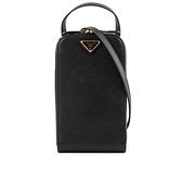 【PRADA】三角牌Saffiano皮革斜背手機包(黑色) 1BP027 NZV F0002