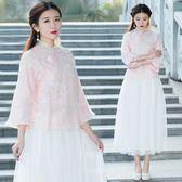 民族風中國風女裝夏唐裝歐根緞紐扣上衣女