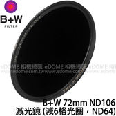 B+W 72mm ND 106 減光鏡 贈原廠拭鏡紙 (24期0利率 免運 捷新貿易公司貨) F-PRO 減6格光圈 ND64