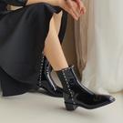 手工真皮女鞋34~40 2020英倫風百搭顯瘦牛漆皮珍珠圓頭中跟馬丁靴 短靴 裡外全皮