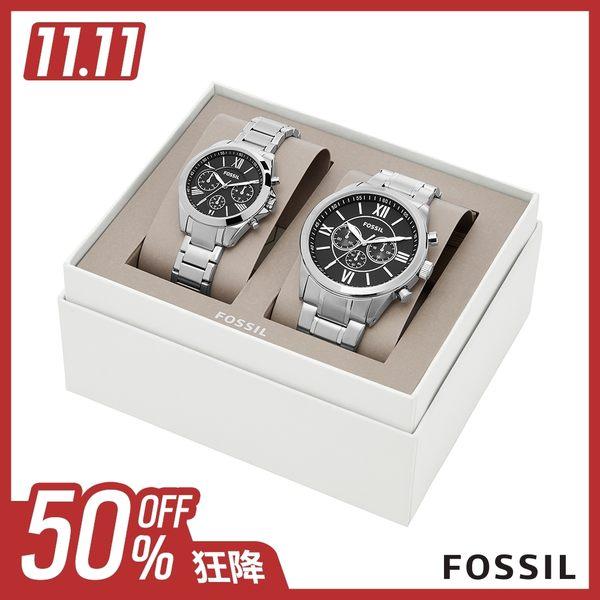 FOSSIL Gift Set 黑色三眼不銹鋼對錶 48mm BQ2146SET