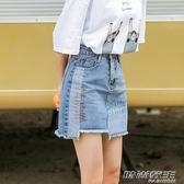 刺繡牛仔裙短裙女韓版chic不規則半身裙高腰a字裙包裙