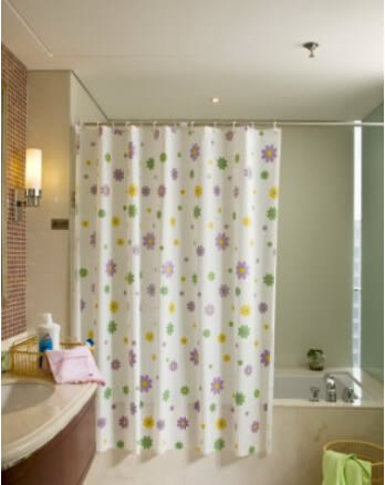 浴室防水浴簾 更衣試衣簾 田園花色花朵浴簾送挂鈎可定做【藍星居家】