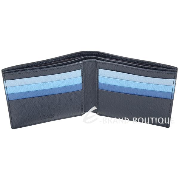 PRADA Saffiano 多彩卡層防刮皮對折八卡短夾(海軍藍) 1930082-34